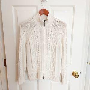 Eddie Bauer Cable Knit Cardigan - Cream - M